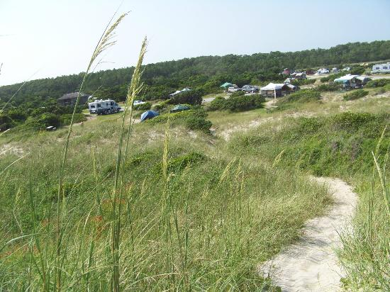 Ocracoke Campground: View of our site from the top of the beach dunes