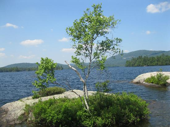 Prospect Point Cottages - Blue Mountain Lake: View from one of the islands in Blue Mountain Lake