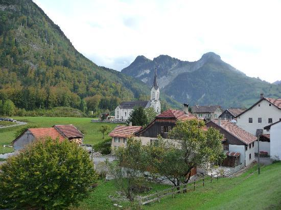 Swiss Chocolate Train: Montbovon, one of the many villages seen on from the Chocolate Train