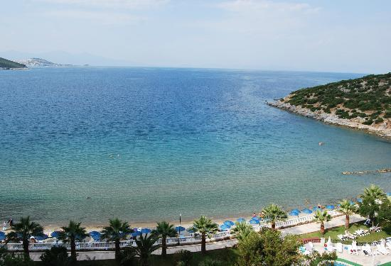 Tusan Beach Resort: View from hotel balcony of the Aegean Sea.