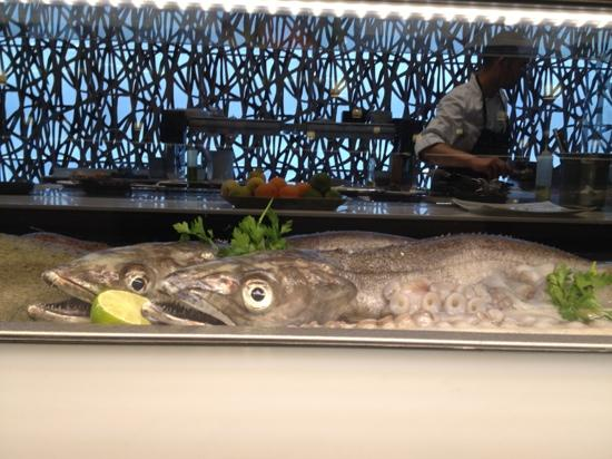 Abrassame: Seafood and kitchen on display