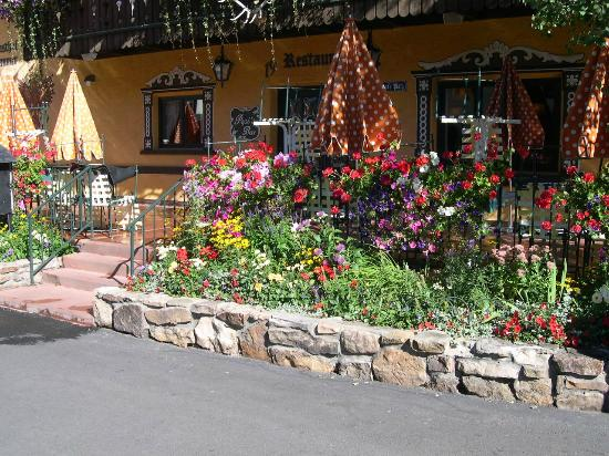 Gasthof Gramshammer: Hotel entrance thru restaurant - summer flowers!