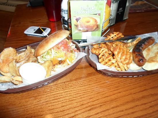 Brat House Grill: chicken sandwhich with kettle chips, and beer brat with waffle fries