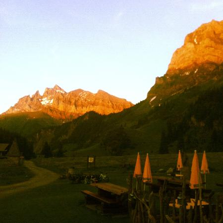 Cantine des Dents Blanches: Sunset in Barme (from the terrace of Cantines des Dents Blanches)