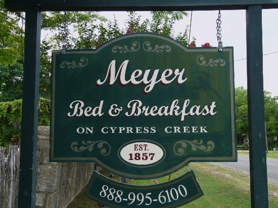 Meyer Bed and Breakfast on Cypress Creek: The B&B Sign