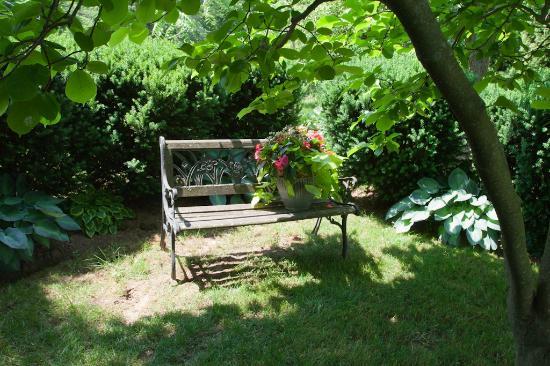 Ben Brae-on-the-Park : Bench in corner of back yard