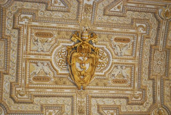Vatican seal on ceiling.