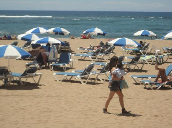 Playa de Las Canteras: Blue and white umbrellas