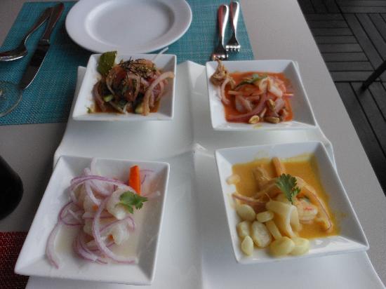 La Mar Cebicheria Peruana: cebiche sampler: clásico, mixto, chalaco, nikei