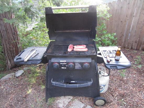 Hostel Tahoe: Gas barbeque for guests to use.