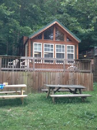 French Broad River Campground: outside of redwood cabin