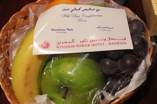 Windsor Tower Hotel Bahrain: Compliments from hotel manager.