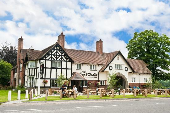 The Dog and Doublet Inn Sandon: Designed by Sir Guy Dawber in the late Arts and Crafts style for the Sandon Estate