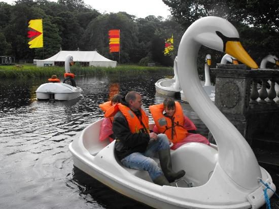 Westport House Camping & Caravan Park: my husband and twins on the swan boats
