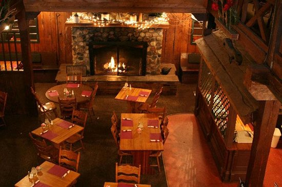 The Barn Restaurant: Main dining room and fireplace