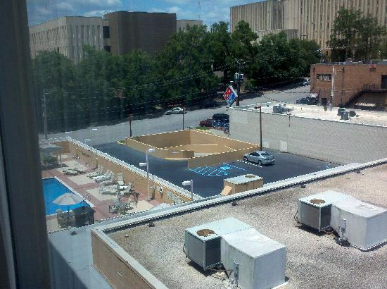 Courtyard Columbia Downtown at USC: View from room. Pool on left.