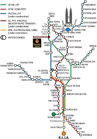 Monorail Map Picture of Quality Hotel City Centre Kuala Lumpur