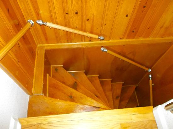 Blue Hen Bed & Breakfast: The back staircase, really cool!