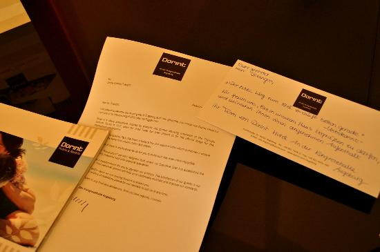 Dorint Hotel An der Kongresshalle Augsburg: Personal Handwritten welcome note...