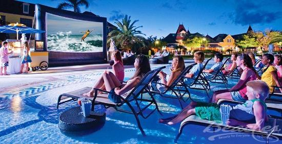 Beaches Turks & Caicos Resort Villages & Spa: Movie by the Pool at Beaches Boscobel