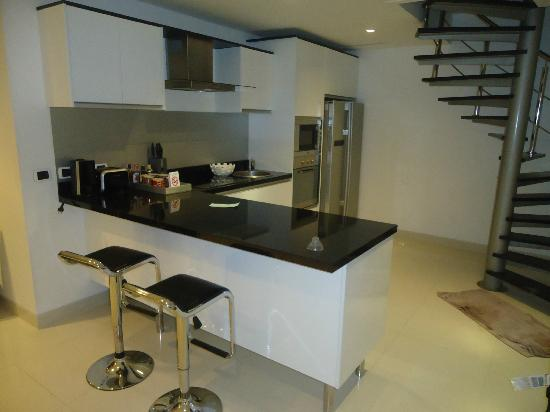 Absolute Nakalay Boutique Resort: Kitchen Area and staircase to the roof terrace
