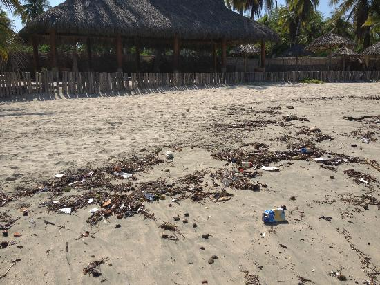 Viceroy Zihuatanejo: trash on the beach - that is hotel - 10 feet away