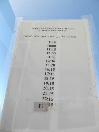 Babalu Apartments: Bus timetable from the bus stop about a minute up the hill 90cents to get it down into Puerto Ri