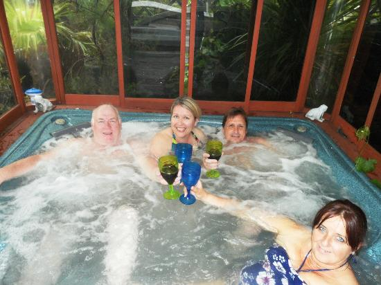 Watersedge Guest House: Four in a hot-tub!