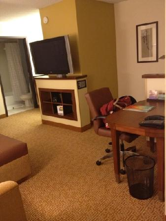 ‪‪Hyatt Place Minneapolis Airport - South‬: tv/computer desk bar area