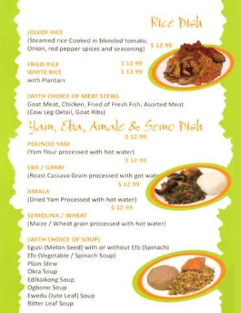 Menu List  Picture Of Nigerian Cuisine By Folaf Las Vegas