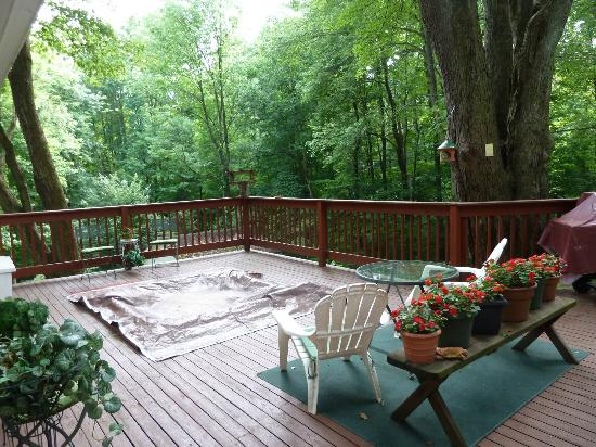 Stonewall Bed and Breakfast: Deck with hot tub