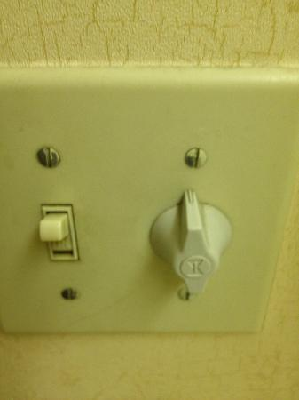 Country Inn & Suites By Carlson, Birch Run: This is the main bathroom light switch. It's filthy!