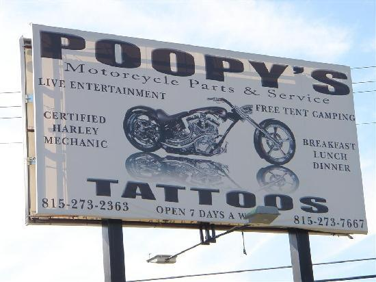 Savanna, IL: Poopy's sign