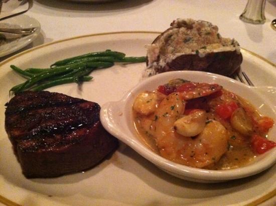 Hy's Steak House - Waikiki: Filet and shrimp scampi combo