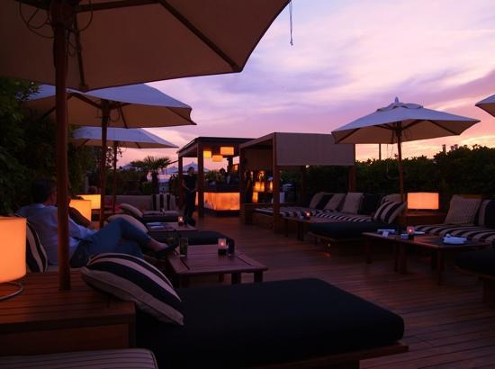 Hotel 1898: rooftop terrace at sunset