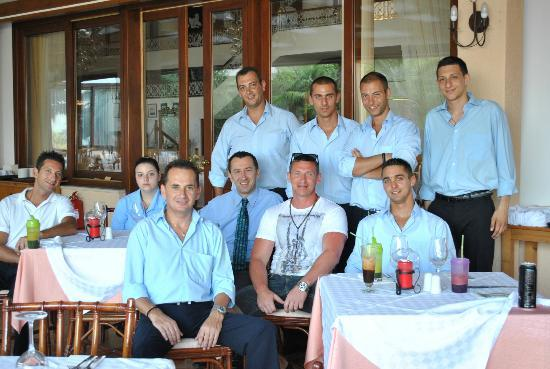 Hotel Esperides: me with the restourant staff