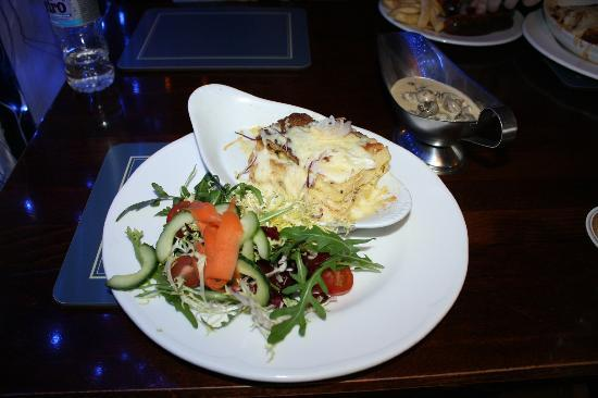Watermill Inn & Brewing Co.: Savoury Bread and Butter Pudding, served with Creamy Mushrooms (£9.25)