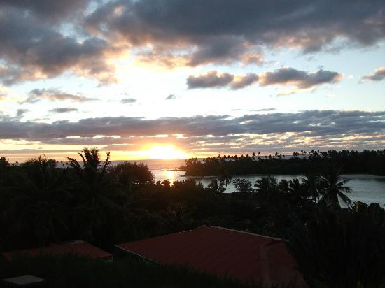 Te Moana Muri: View at Dawn from the balcony in Villa 2