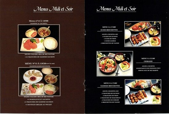 Cergy, Prancis: menu