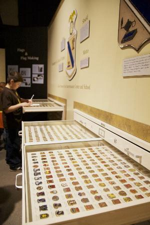 US Army Quartermaster Museum: Student researching the musuem's extensve insignia collection