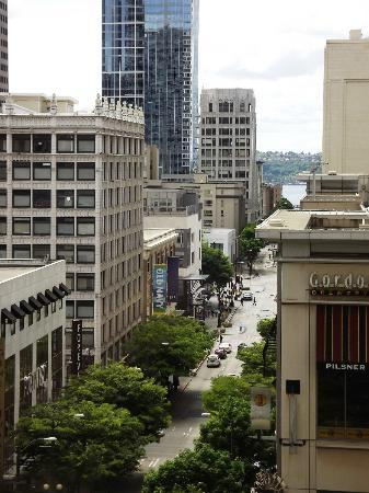 The Paramount Hotel: View from room. Market sign is barely visible at end of street.