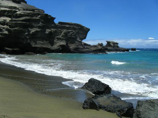 South Point (Ka Lae) and Green Sand Beach: Green Sand Beach at Mahana Bay, Big Island HI