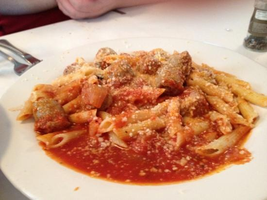 Elizabeth's Restaurant Incorporated: Homemade Berkshire pork sausage with fennel, lavender, rosemary, penne, tomato sauce.