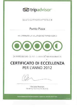 RICONOSCIMENTO PUNTO PIZZA DA PARTE DI TRIPADVISOR