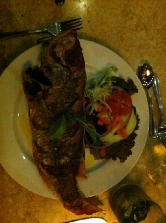 Hotel Bosque del Mar Playa Hermosa: Deep fried red snapper.  It was okay... could be better.