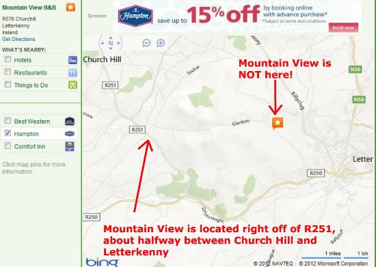 Mountain View B&B: Map to Mountain View