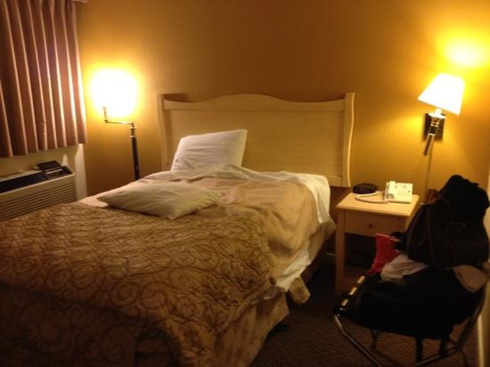 Americas Best Value Inn Golden Gate: Crooked lamp, missing lamp shade, and tiny room!