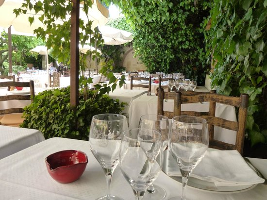 La Colombe D'Or : Rustic tables under deep shade