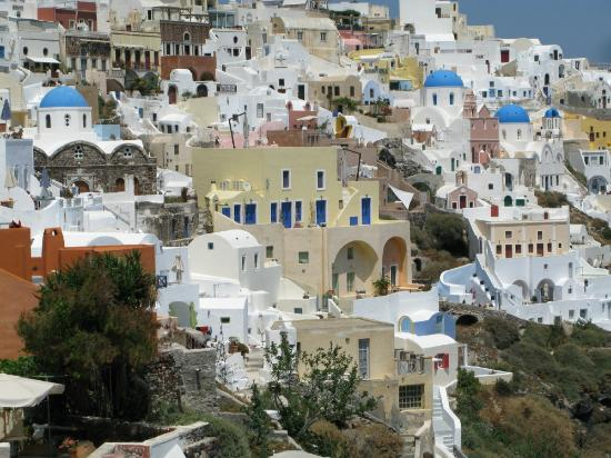 Virginia's Houses: View of Oia, Virigina Houses are in lower left