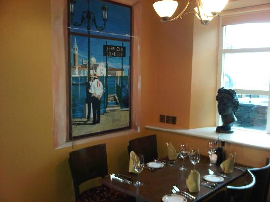 Luca's Ristorante: Inside it's Venice - with aview through the 'window'